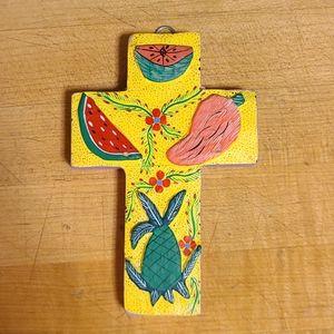 Mexican Oaxaca hand painted Cross folkart